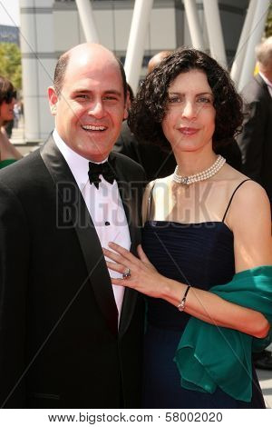 Matthew Weiner and Linda Weiner  At the 60th Primetime Creative Arts Emmy Awards Red Carpet. Nokia Live Theater, Los Angeles, CA. 09-13-08