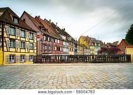 Colmar, Petit Venice, Bridge And Traditional Houses. Alsace, France.