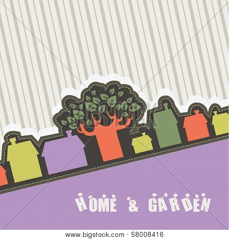 Green tree with houses - retro banner
