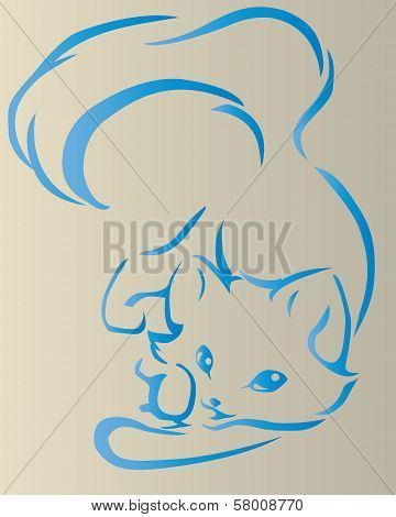 The design of the cute leze cat on gray background