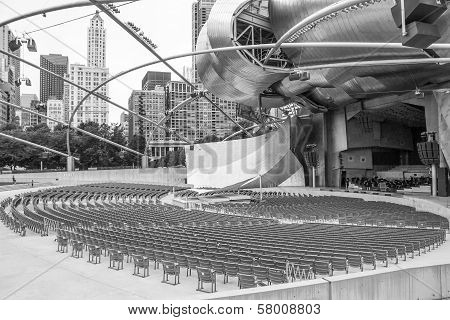 CHICAGO, ILLINOIS, USA - JULY 26 2013: Jay Pritzker pavilion and skyline, monochrome