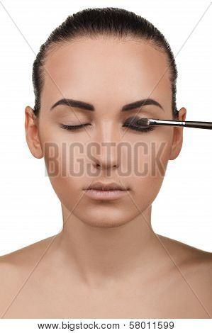 Portrait of girl with stepping makeup. Step 4