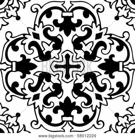 Classical Flower Graphic For Unlimited Repeat To Larger Pattern