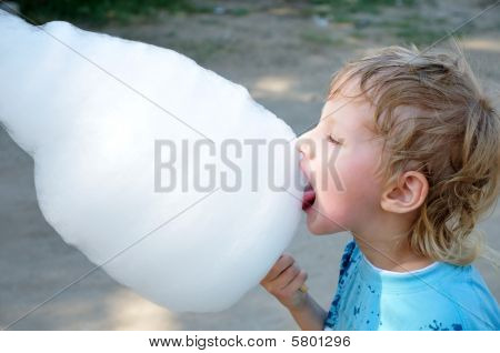 Boy Enjoyong  Cotton Candy