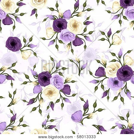 Seamless pattern with lisianthus flowers. Vector illustration.