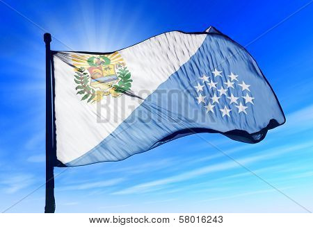 Sucre (Venezuela) flag waving on the wind