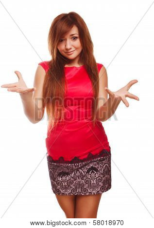 dissatisfied angry young woman haired girl in red dress emotion