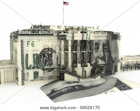 The White house textured with $100.00 dollar bills.