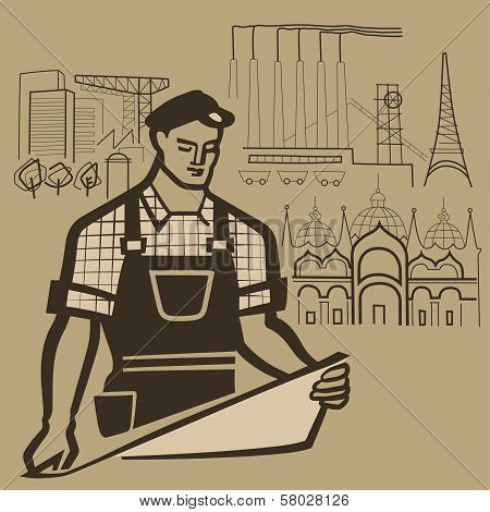 Working Man Builds Reality And Makes Dreams Come True Retro Vector Illustration