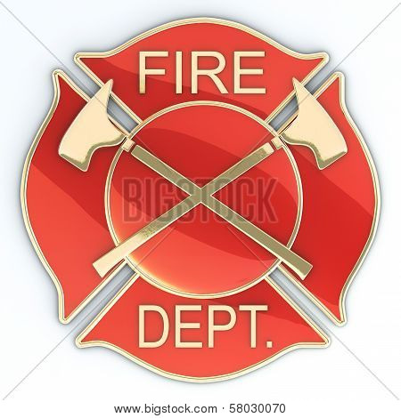 Fire department Maltese cross badge or symbol with axes