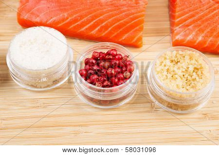 Dried Red Peppercorns And Wild Salmon