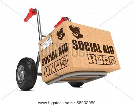 Social Aid - Cardboard Box on Hand Truck.