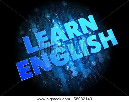 Learn English on Dark Digital Background.