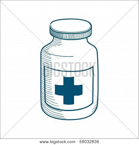 Bottle with medical cross sign isolated on white.