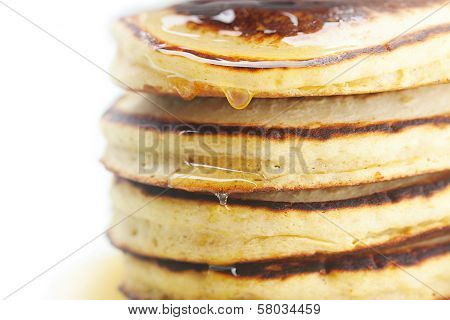 Pancakes And Honey Isolated On White