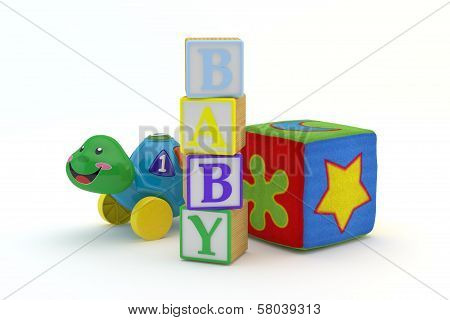 Wood toy blocks spelling baby