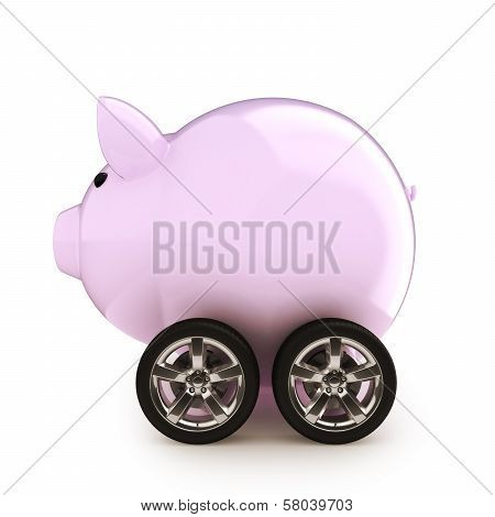 Piggy bank with wheels on a white back ground.