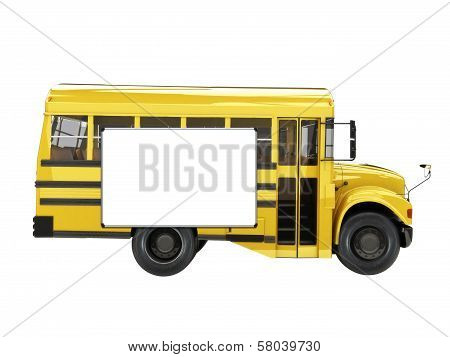Short School bus with advertisment