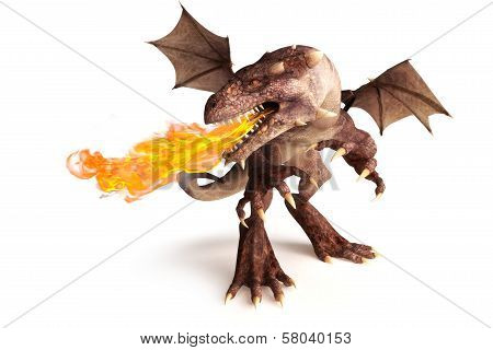 Fire breathing dragon on a white background