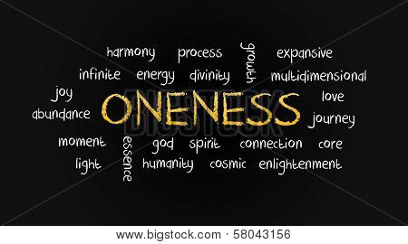 Oneness Word Cloud Concept on Chalkboard