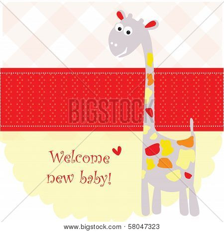 Birth Announcement Banner with giraffe