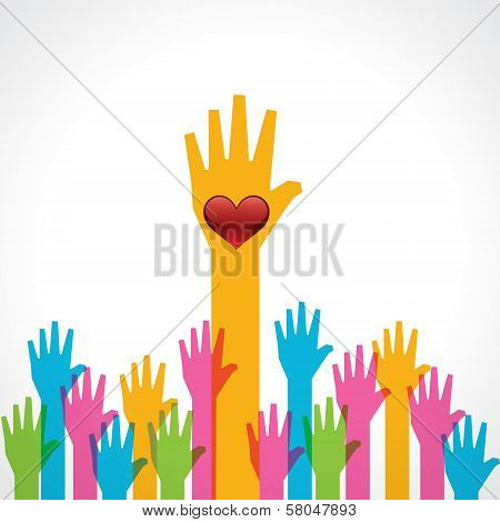 Colorful helping hand with heart