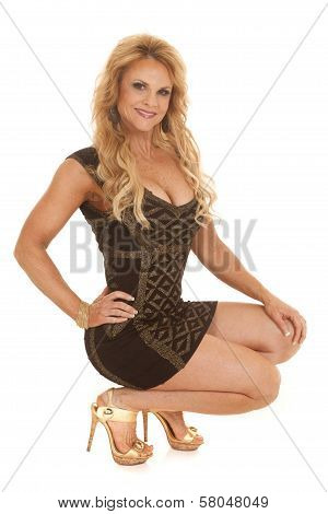 Mature Woman Black And Gold Dress Down