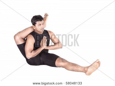 Yoga By Indian Man On White