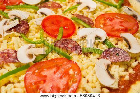Homemade pizza close up