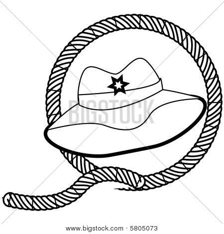 chapéu de cowboy e carimbo de corda