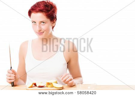 Diabolic Looking Woman With A Knife