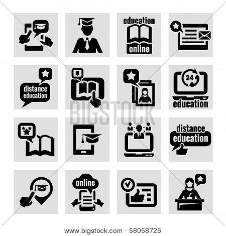 online education concept icons set
