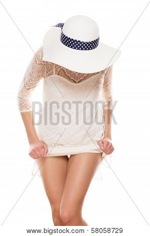 In White Dress Lifting Skirt