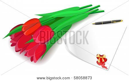 Red Tulips And Love Letter On A White Background.