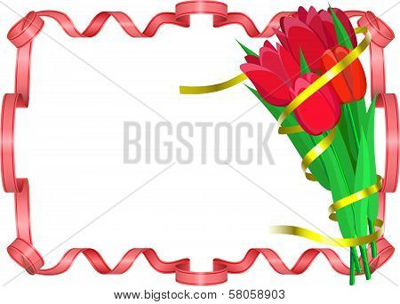 Red Tulips With Yellow And Red Ribbons Are On White Background.