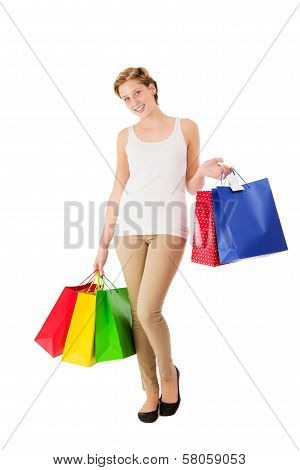Happy With Shopping Bags