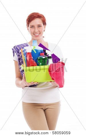 Happy Woman With Cleaning Utensils