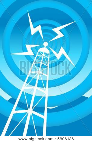 broadcasting tower blue