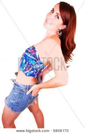 Pretty Girl In Jeans Mini Skirt.