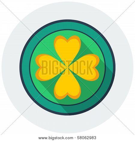 Coin with four leaf clover