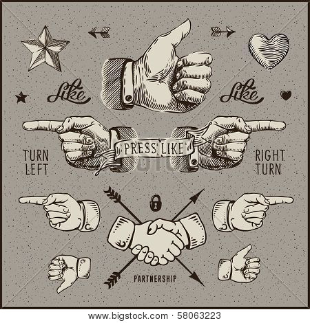 Dsign elements - thumb up, pointer, handshake.