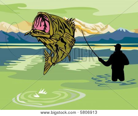 Fisherman catching a largemouth bass