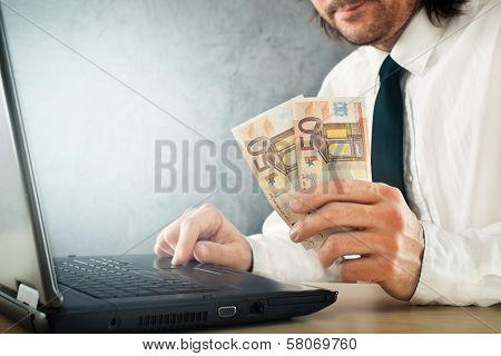Making Money Online, Businessman With Laptop Computer