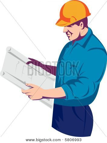 Construction foreman or engineer or architect reading  plan