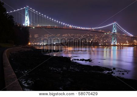 Lions Gate Bridge, Burrard Inlet, Night