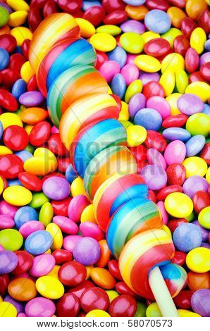 Striped Lollipop And Smarties