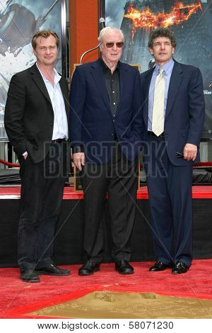 Christopher Nolan with Michael Caine and Alan Horn  at the Hand and Footprint Ceremony Honoring Michael Caine. Grauman's Chinese Theater, Hollywood, CA. 07-11-08