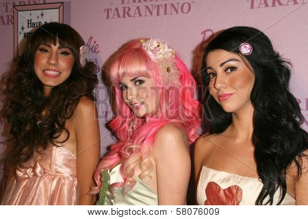 Anna Estella with Audrey Kitching and Grecia Valarie  at the Pink Plastic Party of the Year celebrating the launch of the Tarina Tarantino Barbie Doll. Tarina Tarantino, Los Angeles, CA. 07-17-08