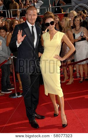 David Beckham and Victoria Beckham  at the 2008 ESPY Awards. Nokia Theatre, Los Angeles, CA. 07-16-08