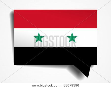 Syria Flag Paper 3D Realistic Speech Bubble On White Background